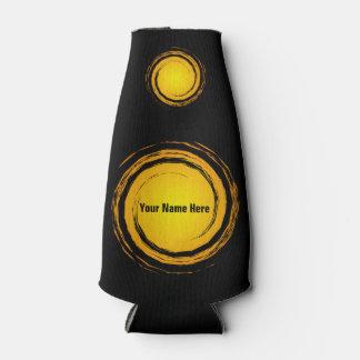 Gelbe wirbelnde Kreis-Sonnen mit Ihrem Namen Flaschenkühler