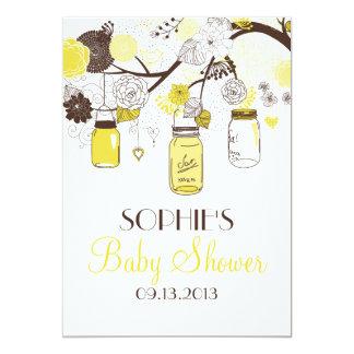 Gelbe wunderliche Weckglas-Babyparty-Einladung 12,7 X 17,8 Cm Einladungskarte