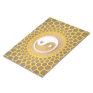 Gelbe Ying Yang Mandala Notizblock