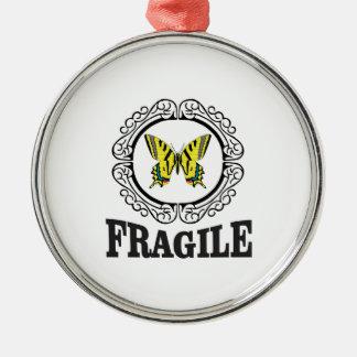 Gelbe zerbrechliche Markierung Silbernes Ornament