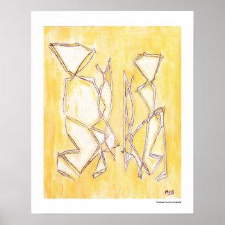 Gelber abstrakter Druck der Poster