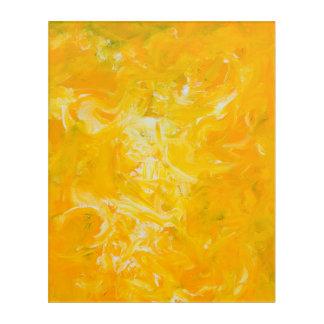 Gelber abstrakter Expressionist-Acryldruck Acryldruck