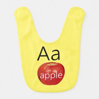 Gelber Baby-Schellfisch-Buchstabe A mit rotem Lätzchen