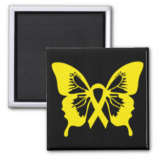 Gelber Blasen-Krebs-Schmetterlingsquadratmagnet Quadratischer Magnet