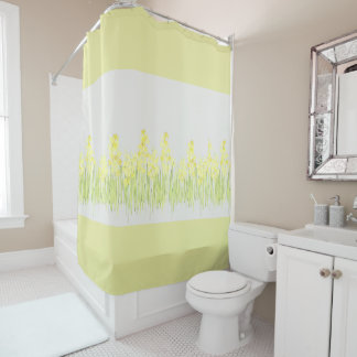 Gelber Blumenduschvorhang Duschvorhang