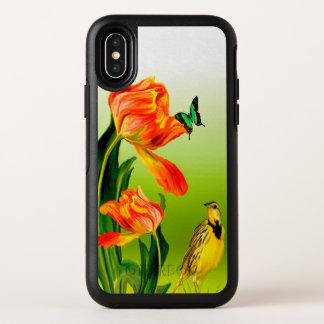 Gelber Canaries-Vogel mit einer orange OtterBox Symmetry iPhone X Hülle