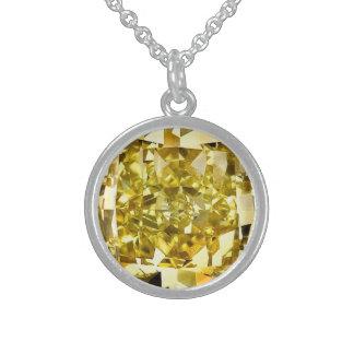 Gelber Diamant Sterling Silberkette