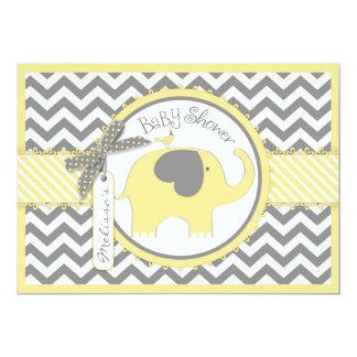 Gelber Elefant-Zickzack Druck-Baby-Dusche Karte