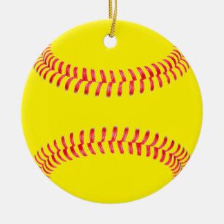 Gelber Fastpitch Softball-runde Keramik Ornament