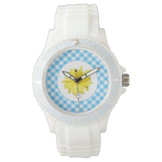 Gelber Gänseblümchen-Türkis-Weiß-Gingham Armbanduhr