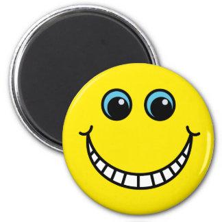 Gelber grinsender Smiley Runder Magnet 5,1 Cm