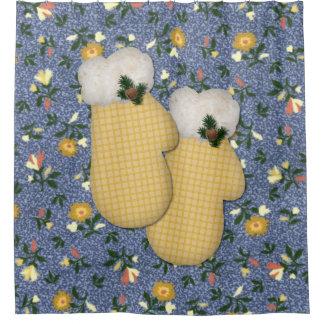 Gelber Handschuh-Weihnachtsduschvorhang Duschvorhang
