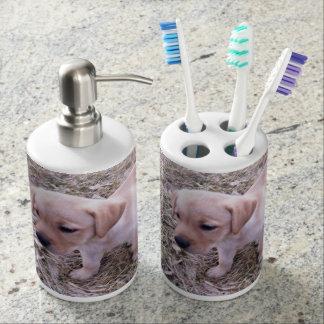 Gelber Labrador retriever-Badezimmer-Dekor Seifenspender & Zahnbürstenhalter