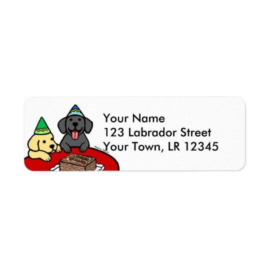 Gelber Labrador u. schwarzer Labrador-Geburtstag Rückversand-Adressaufkleber