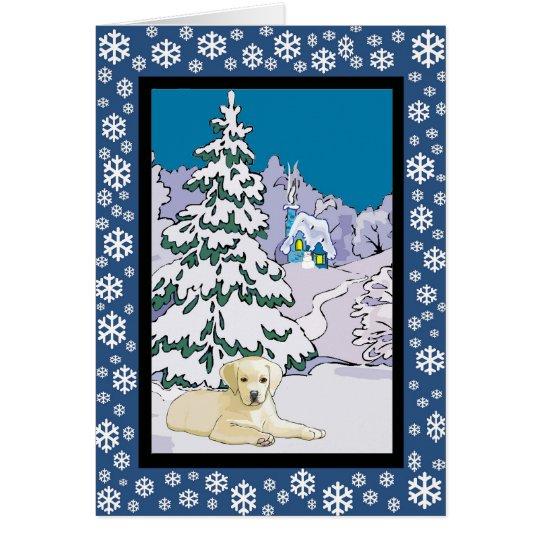 Gelber Labradorsnowy-Winter Grußkarte