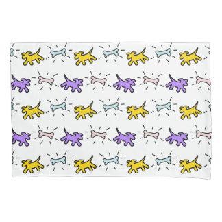 Gelber lila Hundeknochengraffiti-Art-Kissenbezug Kissen Bezug