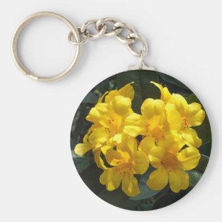 Gelber Rhododendron Standard Runder Schlüsselanhänger