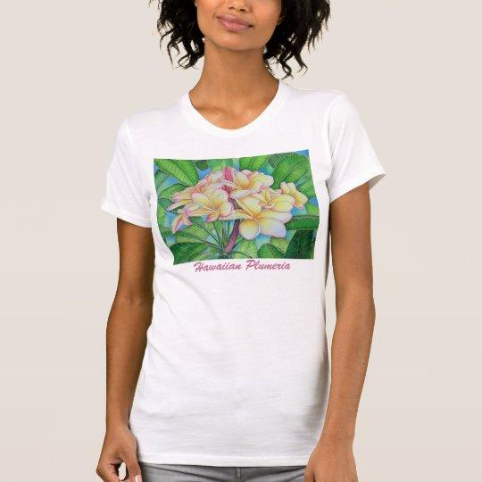 Gelber rosa Plumeria T-Shirt