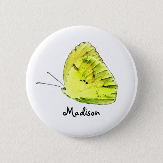 Gelber Schwefel-Schmetterlings-personalisierter Runder Button 5,7 Cm