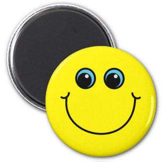 Gelber Smiley Runder Magnet 5,1 Cm