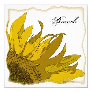 Gelber Sonnenblume-Eckpfosten-Hochzeits-Brunch Karte