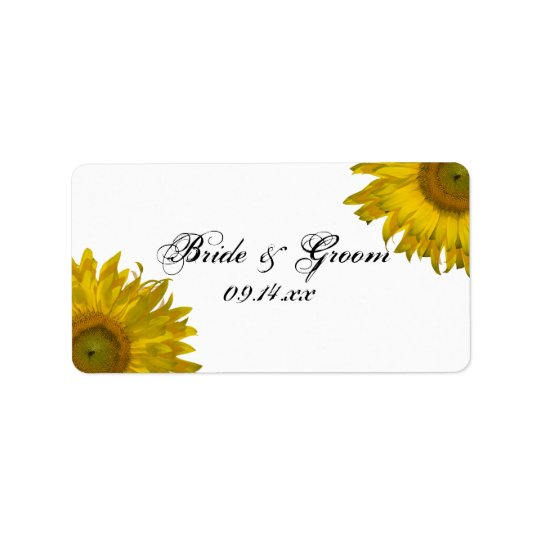 Gelber Sonnenblume-Gastgeschenk Hochzeits-Umbau Adressaufkleber