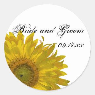 Gelber Sonnenblume-Hochzeits-Umschlag Aufkleber