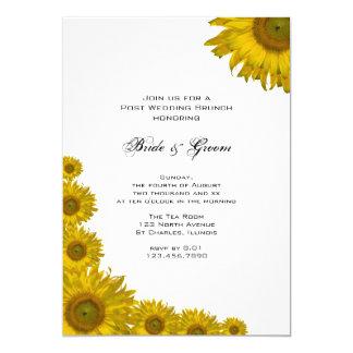 Gelber Sonnenblume-Rand-Posten-Hochzeits-Brunch Karte