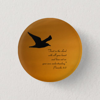Gelber Sonnenuntergang-Himmel-Vogel-im Flug Runder Button 2,5 Cm