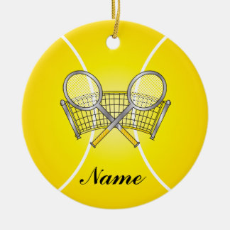 Gelber Tennisball personifizieren Rundes Keramik Ornament