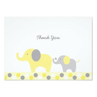 Gelber u. grauer Elefant danken Ihnen Karten 11,4 X 15,9 Cm Einladungskarte