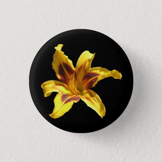 Gelber u. roter Lilien-Knopf Runder Button 2,5 Cm