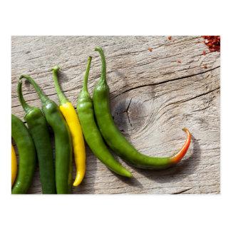 Gelber und grüner Chili-Pfeffer Postkarte