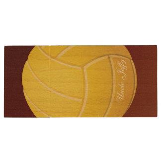 Gelber Volleyball-Monogramm-Name Holz USB Stick 3.0