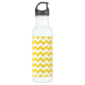 Gelber Zickzack Stripes Zickzack Muster Trinkflasche