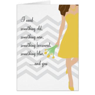 Gelber Zickzack Wille sind Sie meine Brautjungfer Karte