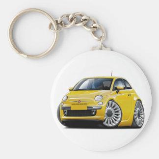 Gelbes Auto Fiats 500 Schlüsselanhänger