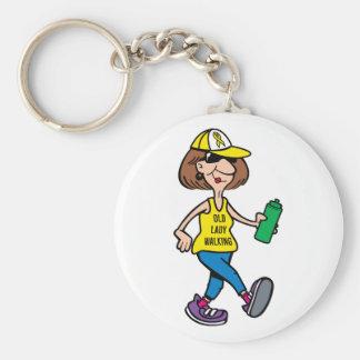 Gelbes Band-alte Dame gehendes Keychain Schlüsselanhänger