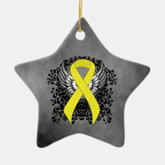 Gelbes Band mit Flügeln Keramik Ornament