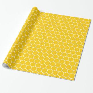 Gelbes Bienenwaben-Muster Geschenkpapier