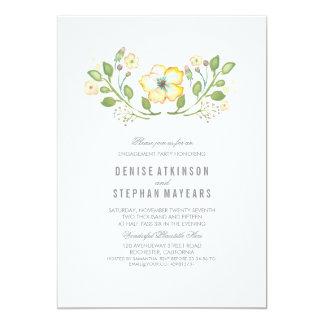Gelbes Blumenwatercolor-Verlobungs-Party 12,7 X 17,8 Cm Einladungskarte