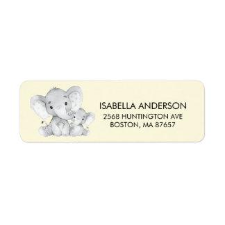 Gelbes Elefant-Babyparty-Adressen-Etikett