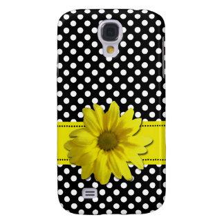 Gelbes Gänseblümchen-Schwarzweiss-Tupfen Galaxy S4 Hülle