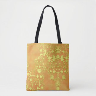 Gelbes Goldorange extravaganter Blumendamast Tasche