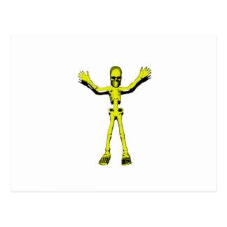 Gelbes Halloween-Skelett Postkarten