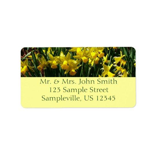 Gelbes heitre Frühlings-Blumen der Narzissen-I Adressetikett