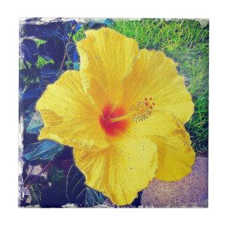 Gelbes Hibiscus.jpg Kleine Quadratische Fliese