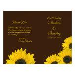 Gelbes Hochzeits-Programm Sonnenblume-Browns Flyer
