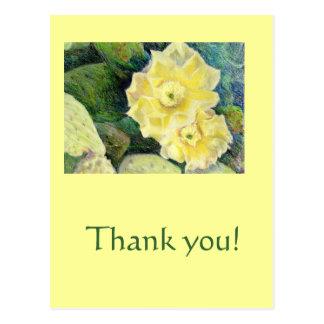 Gelbes Kaktus-Blüten-Blumen-Geschenk Postkarte