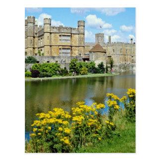 gelbes Leeds Castle, Blumen Kents, England Postkarte